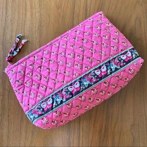 Vera Bradley large Makeup bag Pink Pansy Butterfly